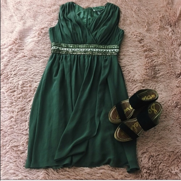 JS Boutique Dresses & Skirts - Sleeveless Olive Green Beaded Cocktail Dress